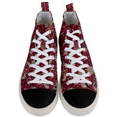Floral Pattern Background Men s Mid Top Canvas Sneakers