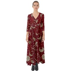 Floral Pattern Background Button Up Boho Maxi Dress