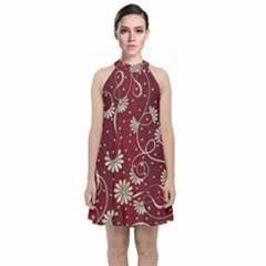 Floral Pattern Background Velvet Halter Neckline Dress