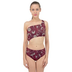 Floral Pattern Background Spliced Up Two Piece Swimsuit