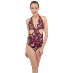 Floral Pattern Background Halter Front Plunge Swimsuit by Vaneshart