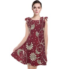 Floral Pattern Background Tie Up Tunic Dress