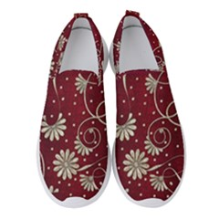 Floral Pattern Background Women s Slip On Sneakers