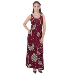 Floral Pattern Background Sleeveless Velour Maxi Dress