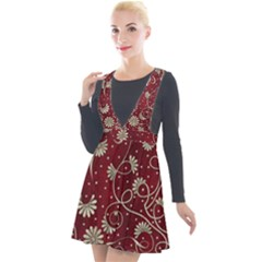 Floral Pattern Background Plunge Pinafore Velour Dress