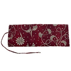 Floral Pattern Background Roll Up Canvas Pencil Holder (s)