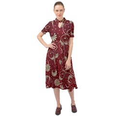 Floral Pattern Background Keyhole Neckline Chiffon Dress