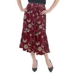 Floral Pattern Background Midi Mermaid Skirt