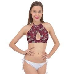 Floral Pattern Background Cross Front Halter Bikini Top