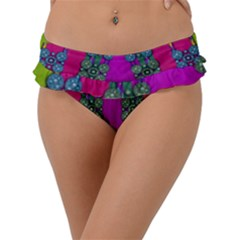 Flowers In A Rainbow Liana Forest Festive Frill Bikini Bottom by pepitasart