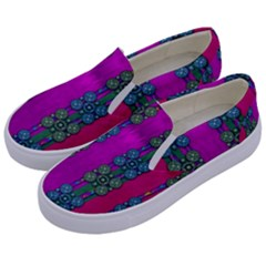 Flowers In A Rainbow Liana Forest Festive Kids  Canvas Slip Ons by pepitasart