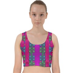 Flowers In A Rainbow Liana Forest Festive Velvet Racer Back Crop Top