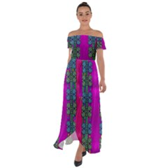 Flowers In A Rainbow Liana Forest Festive Off Shoulder Open Front Chiffon Dress