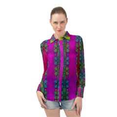 Flowers In A Rainbow Liana Forest Festive Long Sleeve Chiffon Shirt by pepitasart