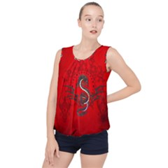Chinese Dragon On Vintage Background Bubble Hem Chiffon Tank Top by FantasyWorld7