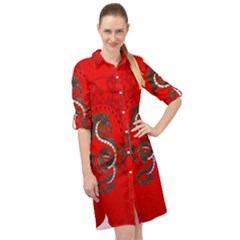 Chinese Dragon On Vintage Background Long Sleeve Mini Shirt Dress by FantasyWorld7
