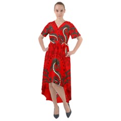Chinese Dragon On Vintage Background Front Wrap High Low Dress