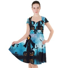 Funny Halloween Design With Skeleton, Pumpkin And Owl Cap Sleeve Midi Dress by FantasyWorld7