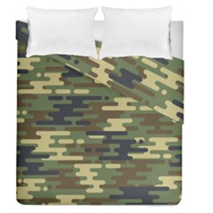 Curve Shape Seamless Camouflage Pattern Duvet Cover Double Side (queen Size)