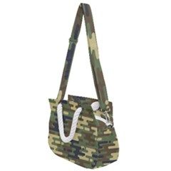 Curve Shape Seamless Camouflage Pattern Rope Handles Shoulder Strap Bag