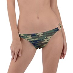 Curve Shape Seamless Camouflage Pattern Ring Detail Bikini Bottom