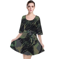 Military Camouflage Design Velour Kimono Dress