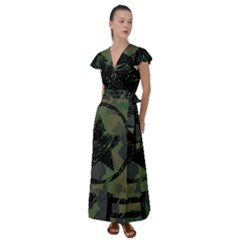 Military Camouflage Design Flutter Sleeve Maxi Dress