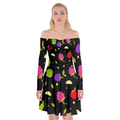 Vector Seamless Summer Fruits Pattern Colorful Cartoon Background Off Shoulder Skater Dress