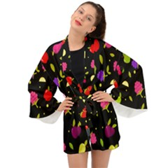 Vector Seamless Summer Fruits Pattern Colorful Cartoon Background Long Sleeve Kimono