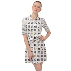 Memphis Seamless Patterns Belted Shirt Dress