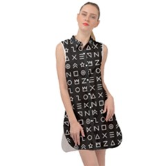 Memphis Seamless Patterns Sleeveless Shirt Dress