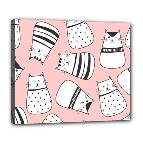 Cute Cats Cartoon Seamless Pattern Deluxe Canvas 24  X 20  (stretched)