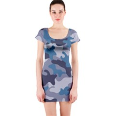 Military Seamless Pattern Short Sleeve Bodycon Dress