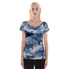 Military Seamless Pattern Cap Sleeve Top