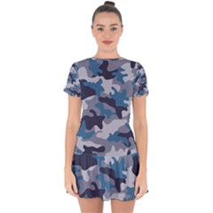 Military Seamless Pattern Drop Hem Mini Chiffon Dress
