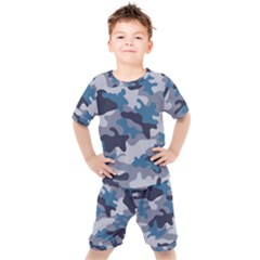 Military Seamless Pattern Kids  Tee And Shorts Set