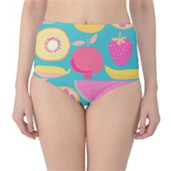 Seamless Pattern With Fruit Vector Illustrations Gift Wrap Design Classic High-waist Bikini Bottoms