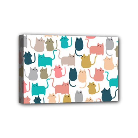 Cute Seamless Pattern Happy Kitty Kitten Cat Mini Canvas 6  X 4  (stretched)