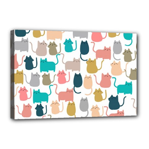 Cute Seamless Pattern Happy Kitty Kitten Cat Canvas 18  X 12  (stretched)