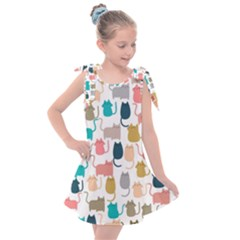 Cute Seamless Pattern Happy Kitty Kitten Cat Kids  Tie Up Tunic Dress