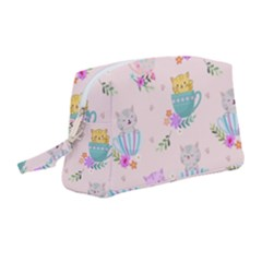 Cute Cat Coffee Cup Morning Times Seamless Pattern Wristlet Pouch Bag (medium)