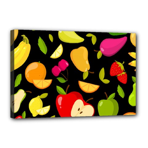 Vector Seamless Summer Fruits Pattern Black Background Canvas 18  X 12  (stretched)