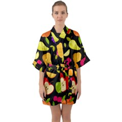 Vector Seamless Summer Fruits Pattern Black Background Half Sleeve Satin Kimono