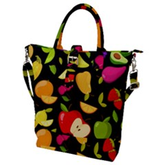 Vector Seamless Summer Fruits Pattern Black Background Buckle Top Tote Bag