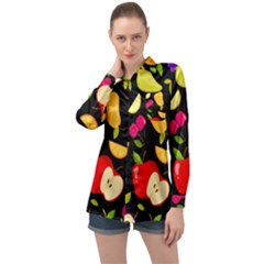 Vector Seamless Summer Fruits Pattern Black Background Long Sleeve Satin Shirt