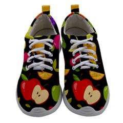 Vector Seamless Summer Fruits Pattern Black Background Women Athletic Shoes