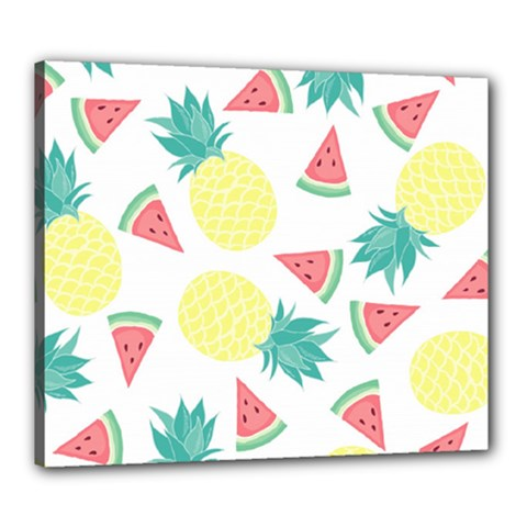 Vector Seamless Pattern With Pineapples Canvas 24  X 20  (stretched)