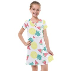 Vector Seamless Pattern With Pineapples Kids  Cross Web Dress