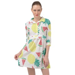 Vector Seamless Pattern With Pineapples Mini Skater Shirt Dress