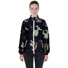 Cartoon African Cactus Seamless Pattern Women s High Neck Windbreaker